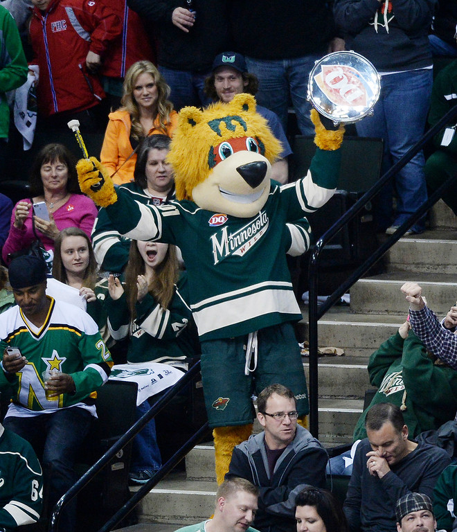 . The Minnesota mascot Nordy was banging his drum in the third period. The Minnesota Wild defeated the Colorado Avalanche 2-1 Thursday night April 24, 2014 at the Xcel Energy Center in St. Paul.  (Photo by Karl Gehring/The Denver Post)