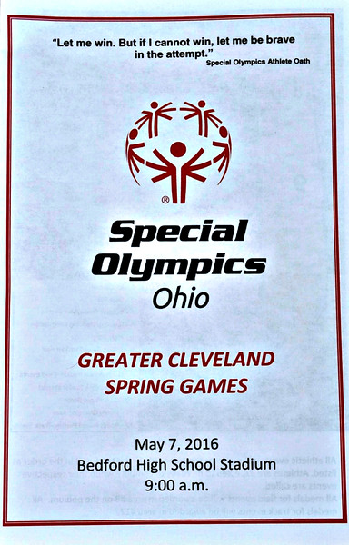 Strongsville Special Olympics Area Track Meet; Saturday, May 7, 2016