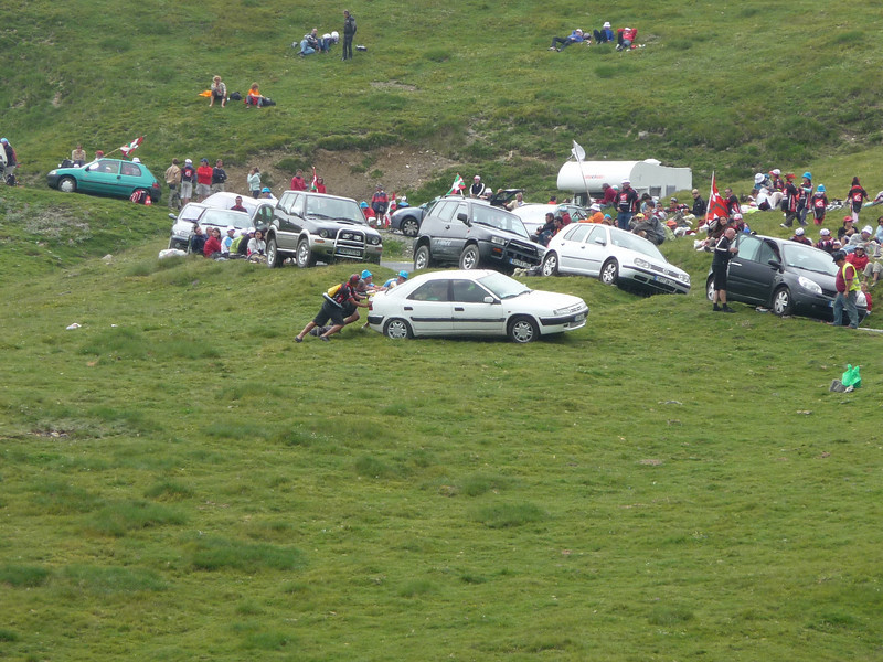 If you get bored waiting for the race to show up, you can always just push a car around on the side of the mountain. Location - Col du Tourmalet