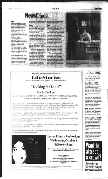 Daily Trojan, Vol. 150, No. 29, October 07, 2003