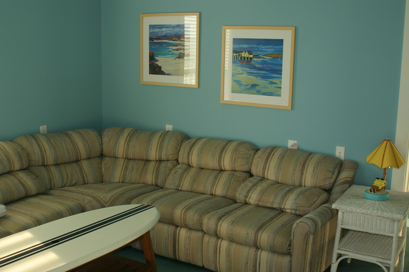 1st floor sofa- lots of room to lounge- surf board table- great for lunch or cards