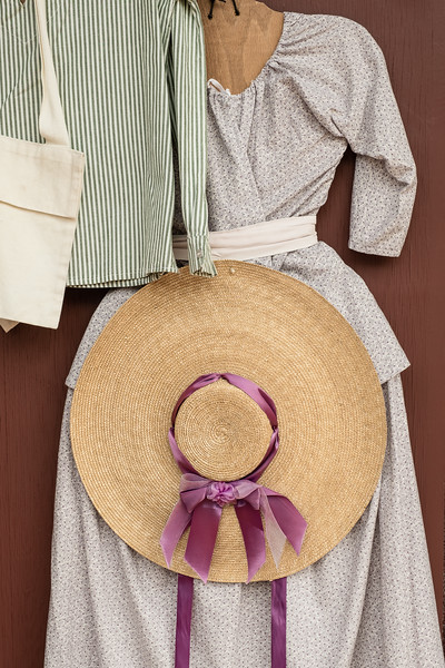 18th Century Style Colonial Dress with Hat and Ribbon