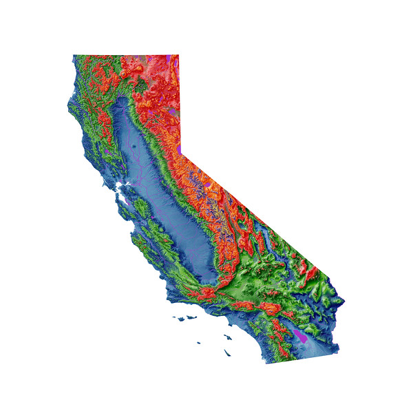 Elevation map of California