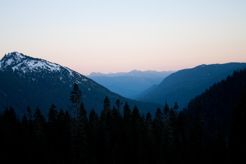 In the mountains at dusk.