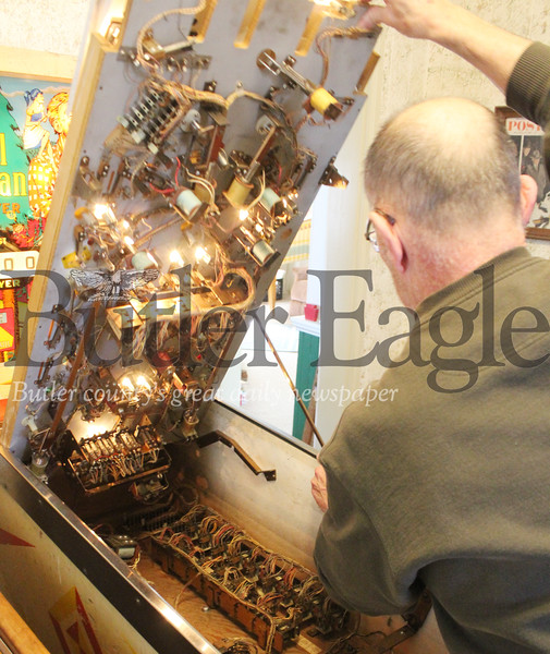 Pinball enthuisast Pat Gallagher, 64, of Butler will loan his vintage machines to the Bulter Art Center for this weekend's show and tournament.