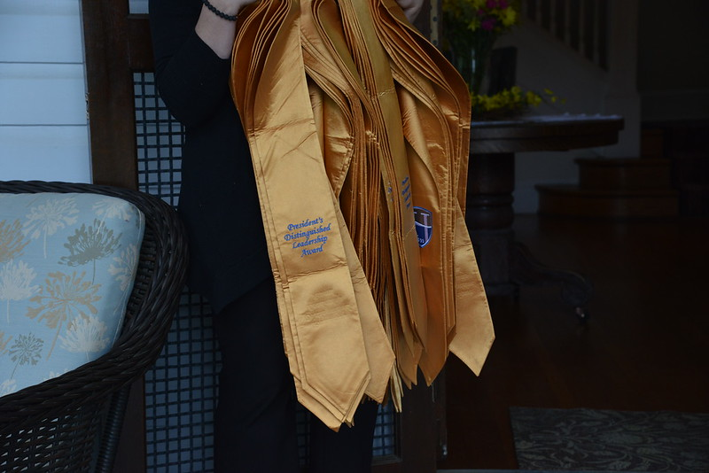 president's distinguished leadership award; presidential stole; gold; hood college; student leaders; student presidents