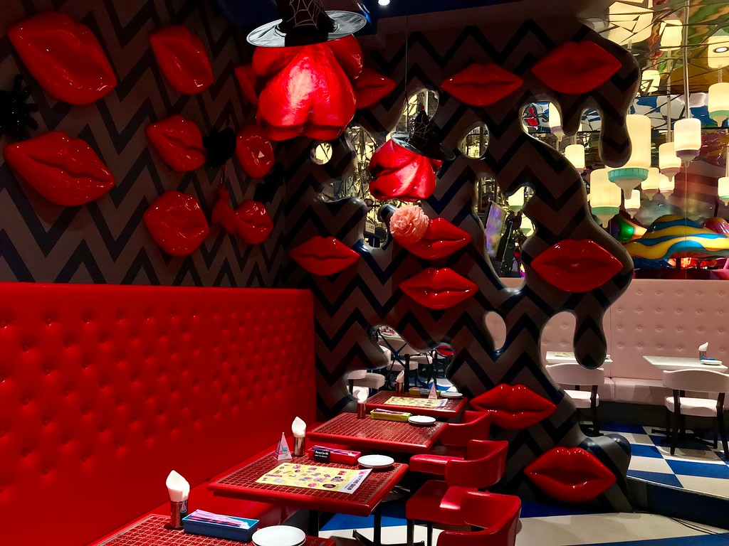 Another dining space in the cafe. Lips feature heavily.