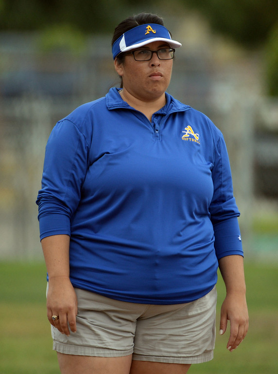 . Bishop Amat head coach Kristen Dedmon in the third inning of a prep playoff softball game against La Serna at Bishop Amat High School in La Puente, Calif., on Thursday, May 22, 2014. La Serna won 6-0.   (Keith Birmingham/Pasadena Star-News)