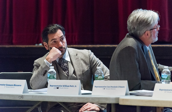 03/25/19 Wesley Bunnell | Staff CT Republicans held a conference on Monday evening at Bristol Central High School to discuss the highway toll proposals as well as alternative options. State Senator Genarro Bazarro looks on as State Rep. Laura Devlin, not shown, gives the state's proposals to the audience.