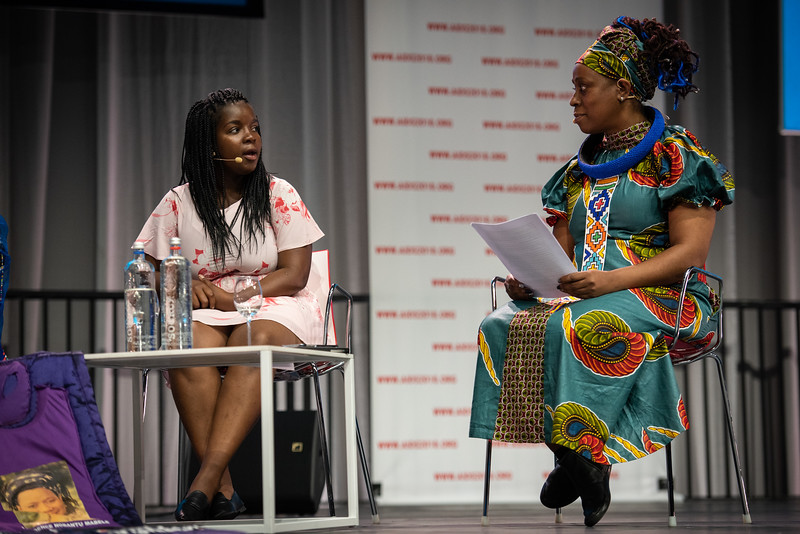 22nd International AIDS Conference (AIDS 2018) Amsterdam, Netherlands.   Copyright: Steve Forrest/Workers' Photos/ IAS  Photo shows: Special Session: The legacy of Prudence Mabele: Championing gender justice and health equity. From Left to Right: Mercy Ngulube, CHIVA, United Kingdom; Yvette Raphael, APHA, South Africa.