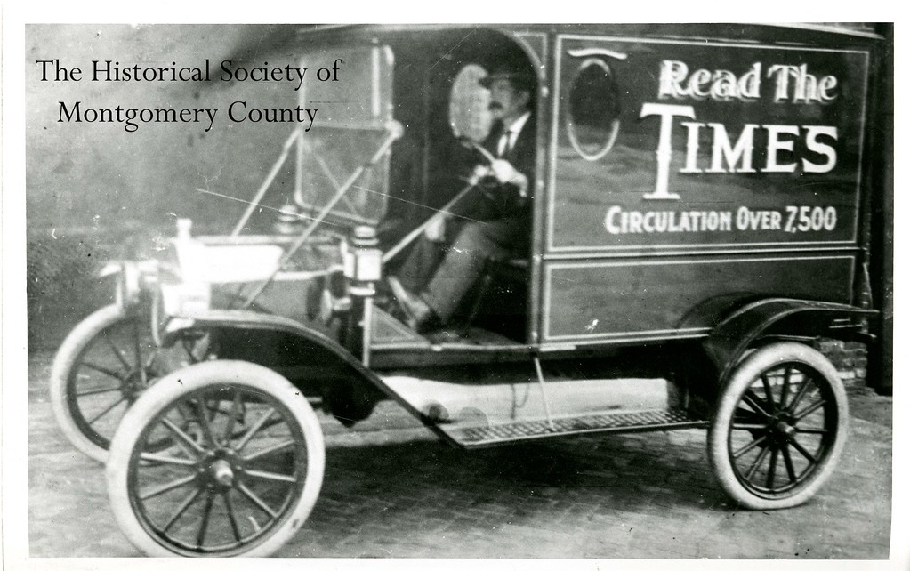 . This photograph from the Historical Society of Montgomery County shows an old Times Herald delivery truck.