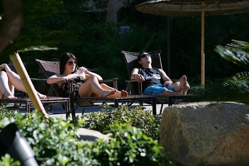 Kaylyn and Riley chillin' poolside at Tahiti Village...