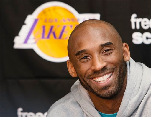 . Los Angeles Lakers guard Kobe Bryan talks to reporters during a news conference in El Segundo, Calif., Tuesday, April 30, 2013. The Lakes lost their first-round NBA basketball playoff series to the San Antonio Spurs. (AP Photo/Damian Dovarganes)