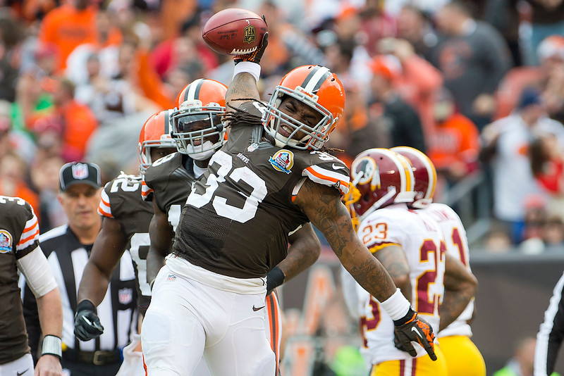 . Running back Trent Richardson #33 of the Cleveland Browns celebrates after scoring against the Washington Redskins during the first half at Cleveland Browns Stadium on December 16, 2012 in Cleveland, Ohio. (Photo by Jason Miller/Getty Images)