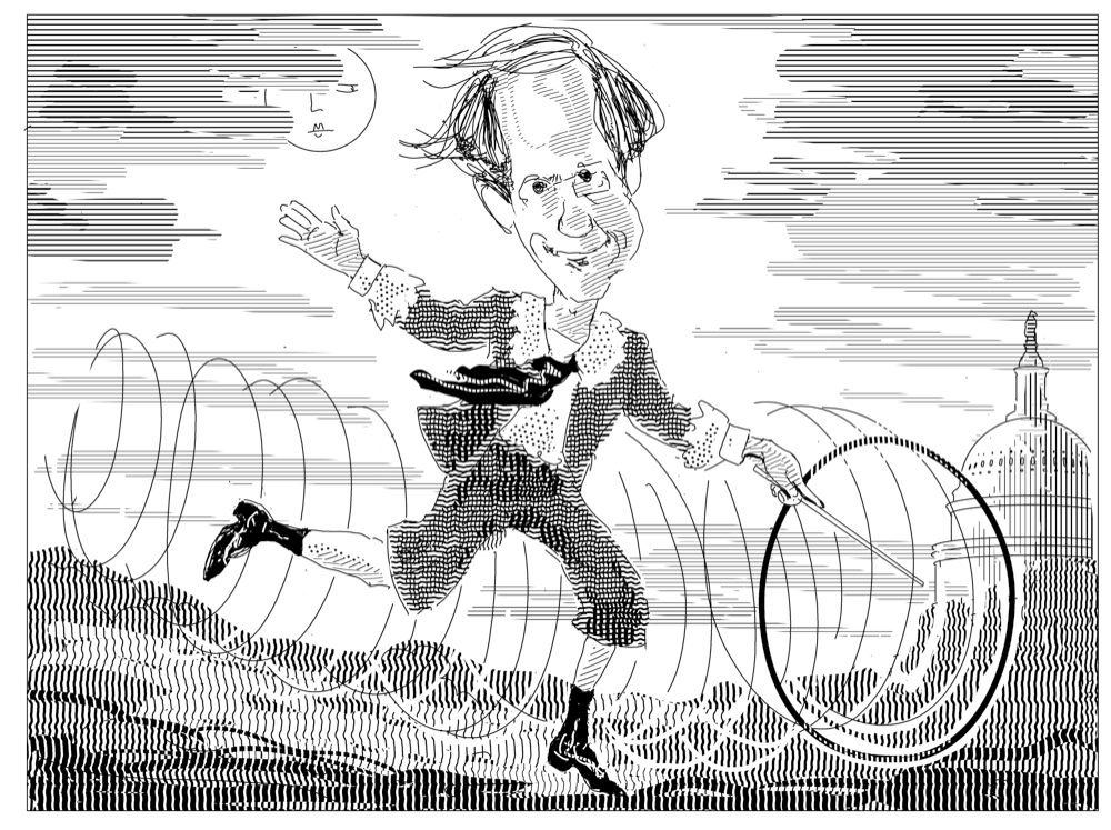 Caricature of the legal scholar/bureaucrat Cass Sunstein