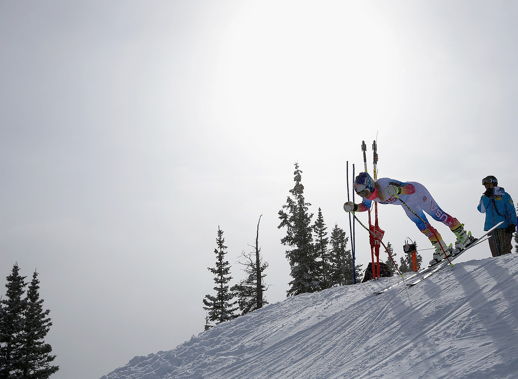 . Lindsey Vonn leaves the start as she takes a downhill training run at the U.S. Ski Team Speed Center at Copper Mountain on November 6, 2013 in Copper Mountain, Colorado.  (Photo by Doug Pensinger/Getty Images)