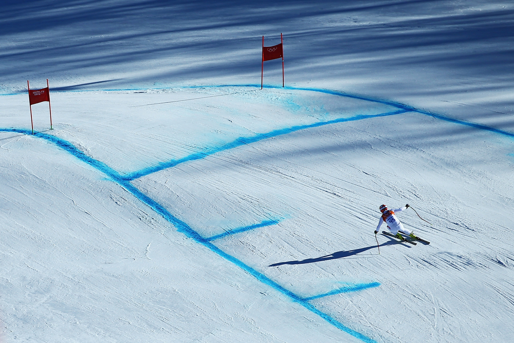 . Arnaud Alessandria of Monaco competes during the Alpine Skiing Men\'s Super Combined Downhill on day 7 of the Sochi 2014 Winter Olympics at Rosa Khutor Alpine Center on February 14, 2014 in Sochi, Russia.  (Photo by Doug Pensinger/Getty Images)