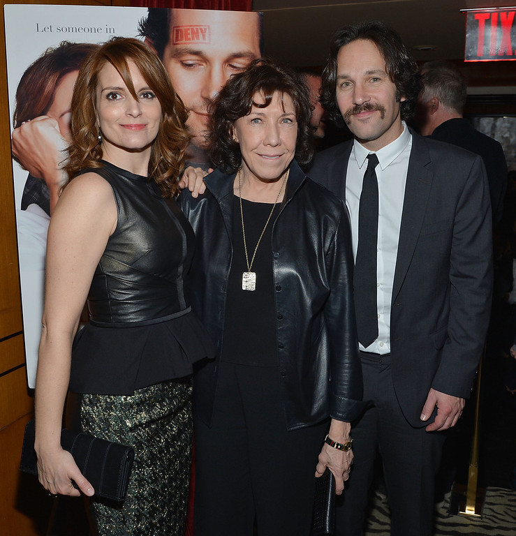 ". Actors (L-R) Tina Fey, Lily Tomlin, Paul Rudd attend ""Admission\"" New York Premiere After Party at Monkey Bar on March 5, 2013 in New York City.  (Photo by Mike Coppola/Getty Images)"