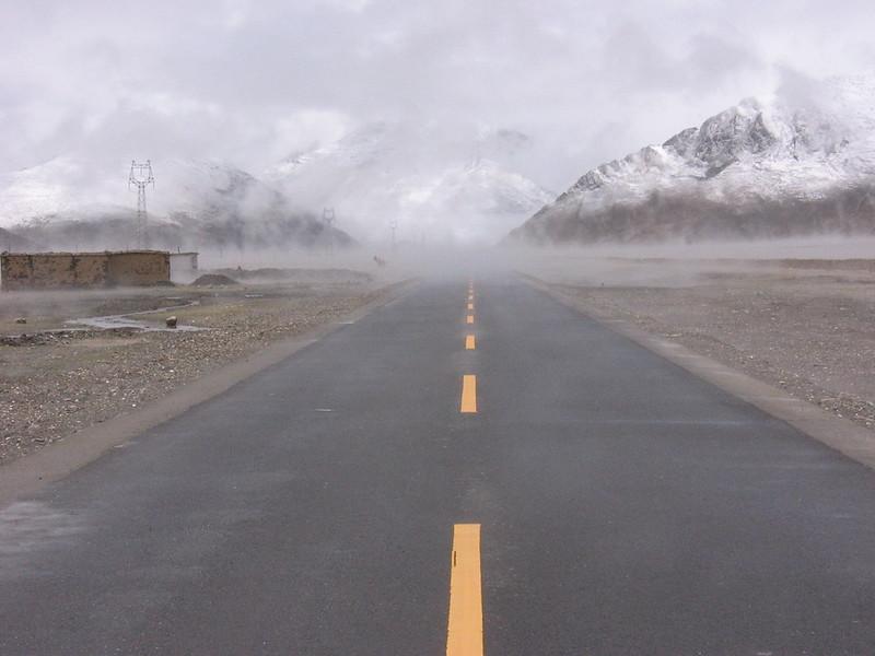 Fog after rain on the way to Shigatse