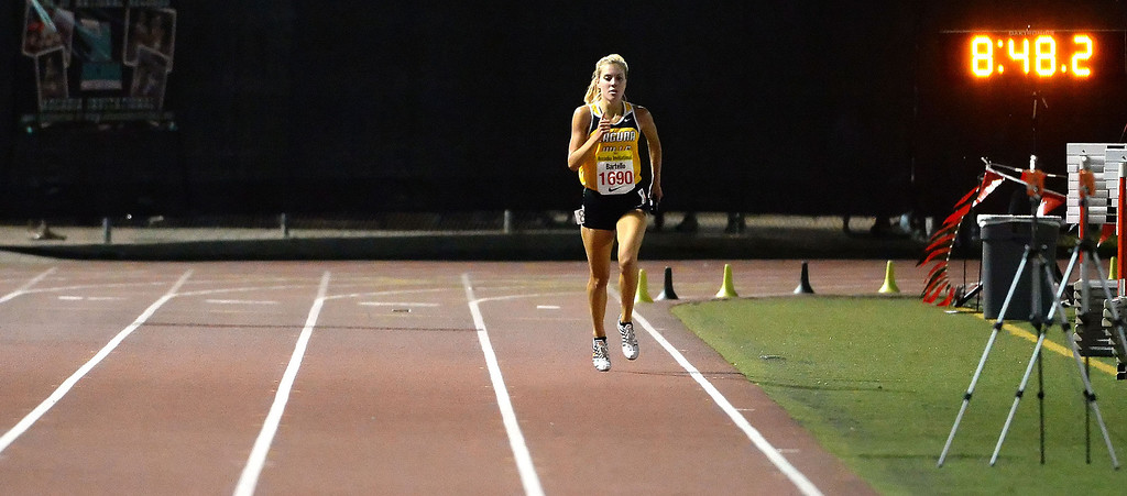 . Laguna Hills\' Brianna Bartello competes in the 4x1600 Meter relay Seeded during the Arcadia Invitational track and field meet at Arcadia High School in Arcadia, Calif., on Friday, April 11, 2014.  (Keith Birmingham Pasadena Star-News)