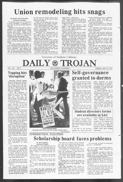 Daily Trojan, Vol. 62, No. 2, September 22, 1970
