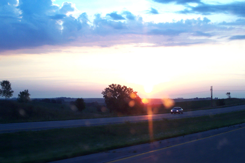 Sunrise in Iowa - Westbound on Interstate 80 Heading towards East Lansing