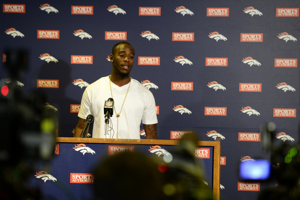 . Dominique Rodgers Cromartie speaks during a press conference for the new Denver Broncos defensive back. Rodgers-Cromartie is among a number of significant off-season pick ups for the Broncos. (Photo by AAron Ontiveroz/The Denver Post)