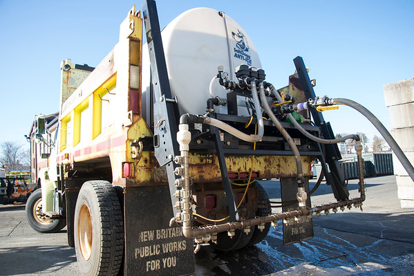 01/17/20 Wesley Bunnell | StaffrrA public works truck is filled with a pre treat mixture to spray on city streets in anticipation of Saturday's snow storm on Friday January 17, 2020.