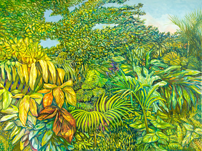 """©John Rachell  Title: The Garden, February 10, 2007 Image Size: 48"""" w by 36"""" d Dated: 2007 Medium and Support: Oil Paint on Canvas Signed: LR Signature"""