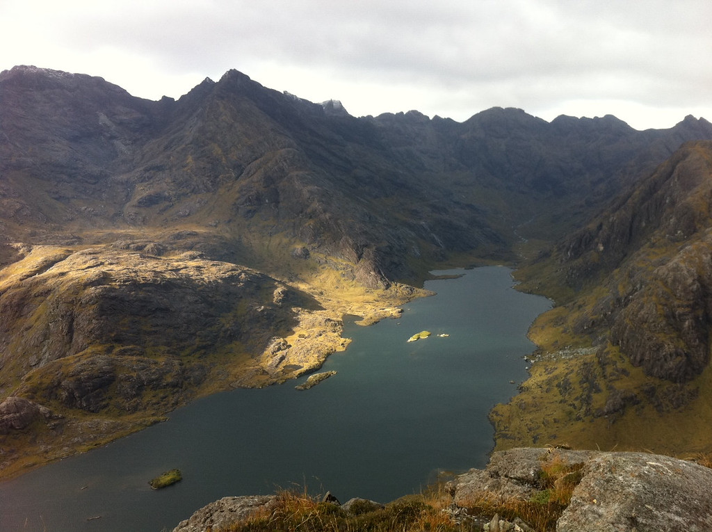 . This October 2013 photo shows Loch Coruisk, a lake on the Isle of Skye in Scotland, as seen from the vantage point of a 15-mile round-trip trail. But the freshwater lake is just steps from the sea, so when the weather is clear, a boat trip to the lake is possible from elsewhere on the coast of Skye. (AP Photo/Cara Anna)