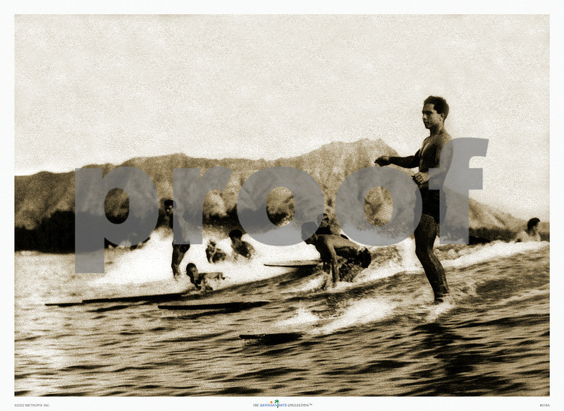 318: 'Surfing at Waikiki' From a sepia-toned photograph. Ca. 1932. (PROOF watermark will not appear on your print)