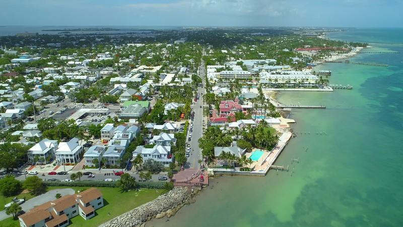 Aerial footage South Street Key West Florida 4k 24p