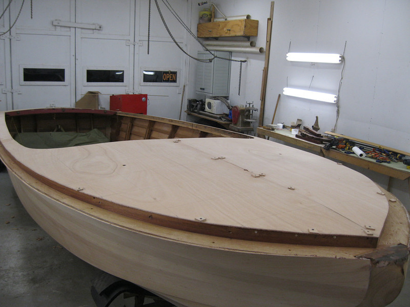Starboard front view of deck plywood fit.