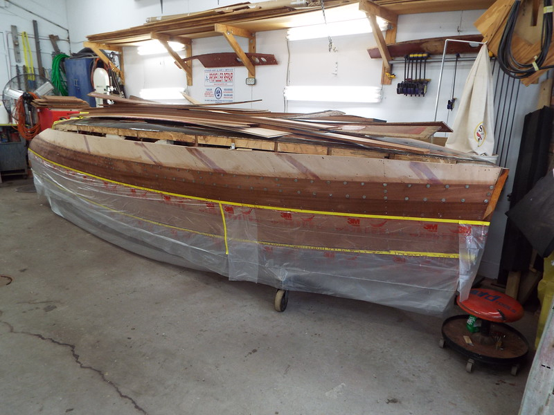 Another view of the fourth starboard plank installed.