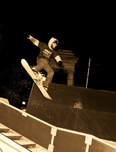 Snowboarder in Flight monochrome 6171, The Downtown Showdown