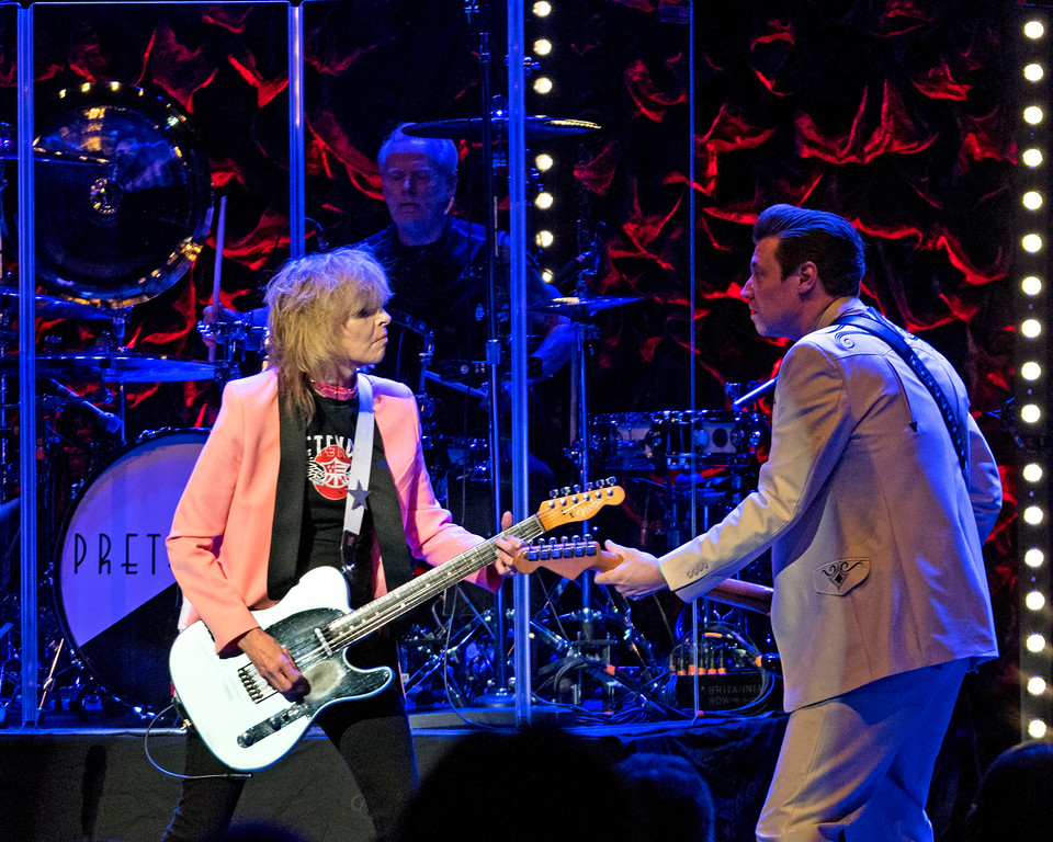 . The Pretenders, with frontwoman Chrissie Hynde and guitarist Jame Walbourne, perform at the Orpheum Theater on Sunday, April 1, 2018, in Boston. The Pretenders with special guest The Rails will perform July 7 at the Hard Rock Rocksino at Northfield Park. For more information, visit hrrocksinonorthfieldpark.com.   (Photo by Robert E. Klein/Invision/AP)