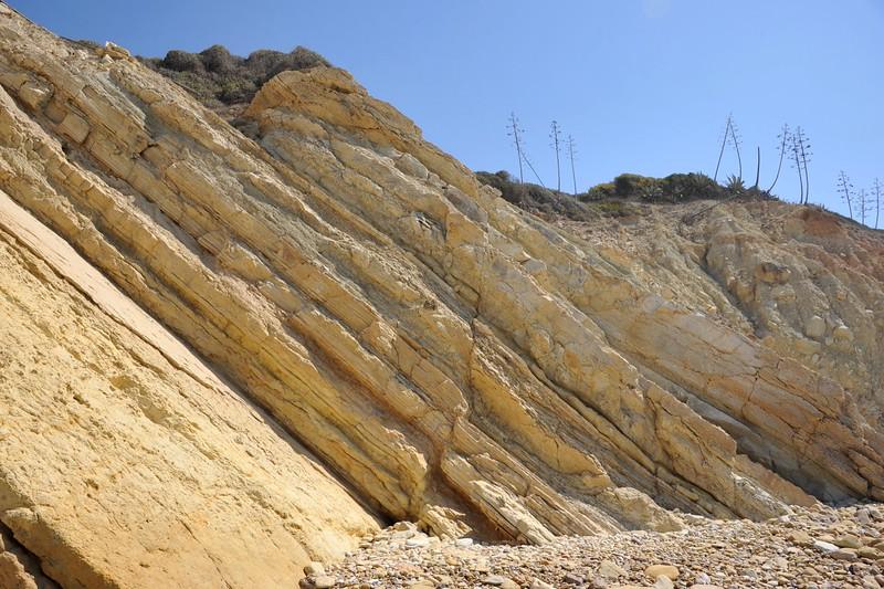 Praia da Salema, Salema (Algarve). Dinosaur footprints.