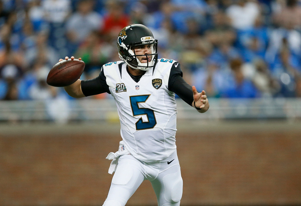 . Jacksonville Jaguars quarterback Blake Bortles throws against the Detroit Lions in the second half of a preseason NFL football game at Ford Field in Detroit, Friday, Aug. 22, 2014. (AP Photo/Rick Osentoski)
