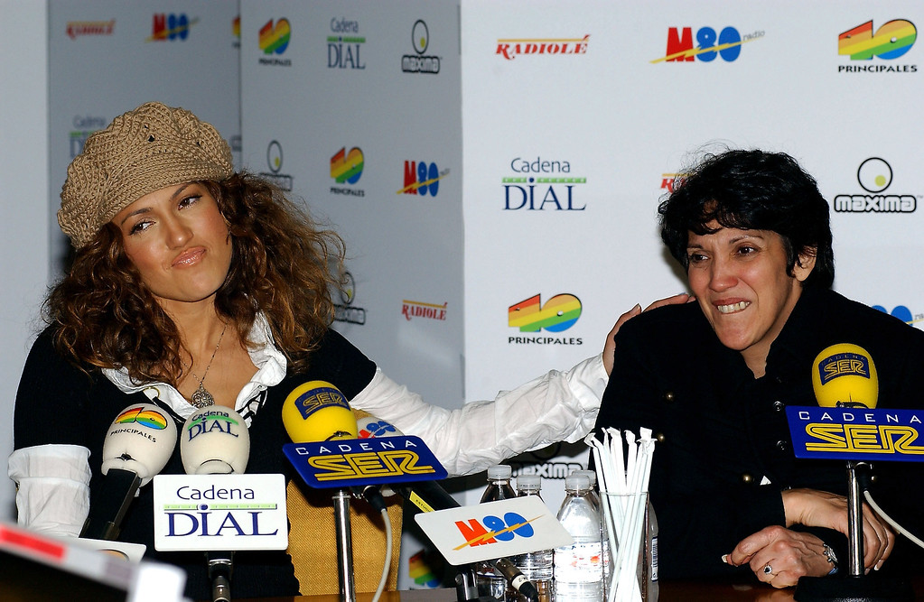 . MADRID, SPAIN - FEBRUARY 25:  Actress and singer Jennifer Lopez and her mother attend an interview at the Cadena Ser radio station February 25, 2003 in Madrid, Spain.  (Photo by Carlos Alvarez/Getty Images)