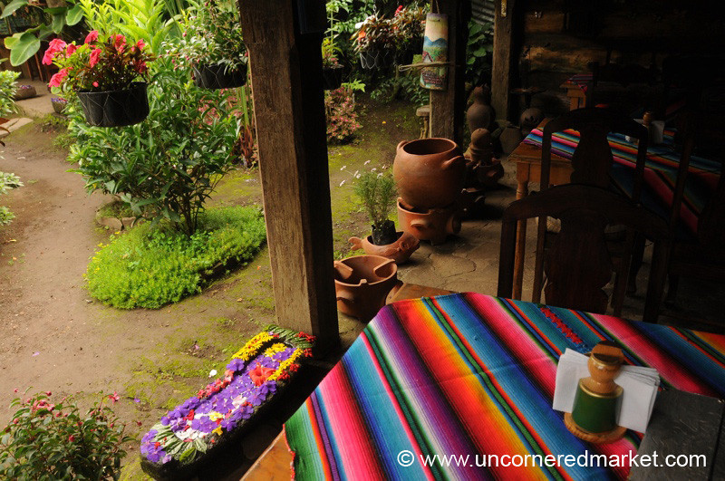 Colorful Tablecloth - Ruta de las Flores, El Salvador