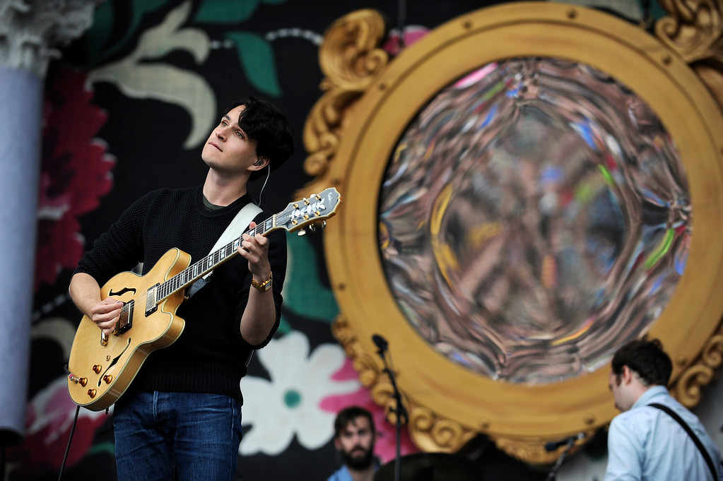 . Ezra Koenig of Vampire Weekend perform during Lollapalooza at Grant Park on August 4, 2013 in Chicago, Illinois. (Photo by Seth McConnell/The Denver Post)