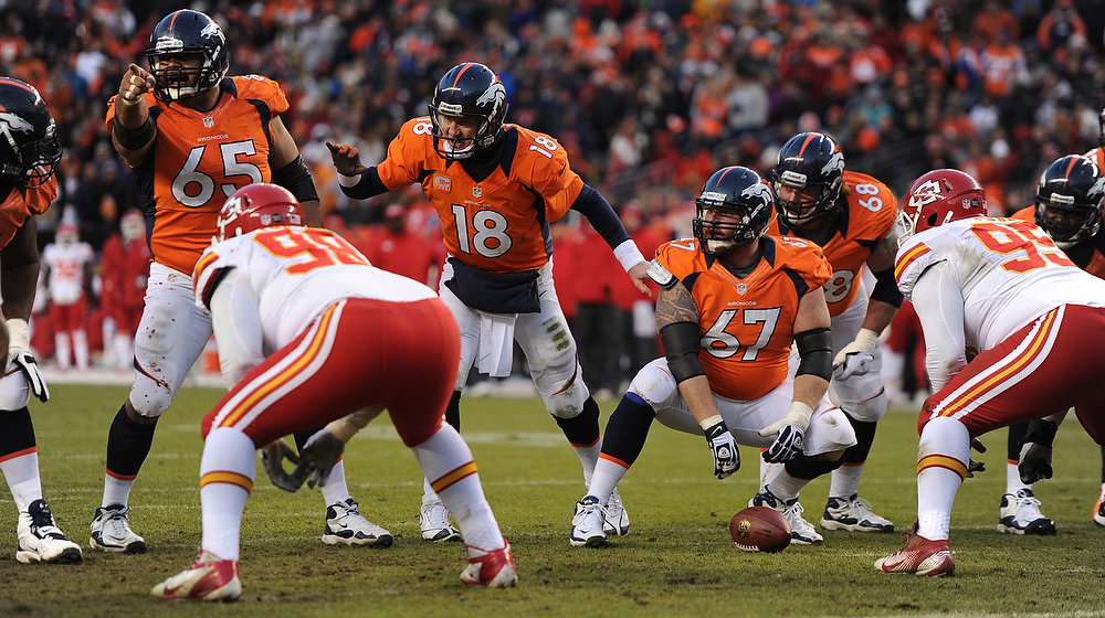 Description of . Denver Broncos quarterback Peyton Manning (18) runs the offense during the third quarter. The Denver Broncos vs Kansas City Chiefs at Sports Authority Field Sunday December 30, 2012. Joe Amon, The Denver Post