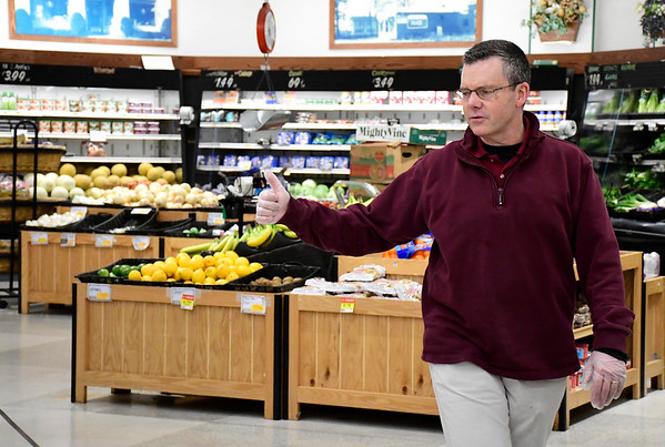 3/21/2020 Mike Orazzi | Staff Gnazzo's owner Keith Gnazzo talks about issues with supply and demand at the Plainville grocery store because of the Coronavirus on Saturday.