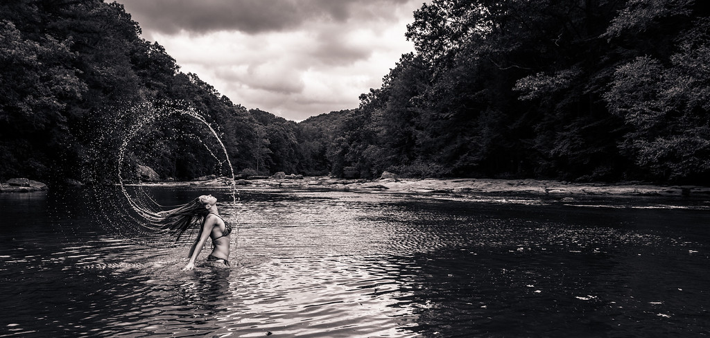 Big Sandy Creek; Black and White; Favorite things; Friends; Places; Seasons; Summer; Tara Smith; West Virginia; Wonder Falls; appalachia; hair toss; photos by Gabe DeWitt; river; water