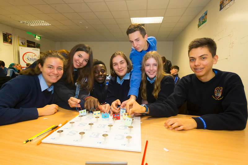 22/11/2017. Waterford Institute of Technology's (WIT) 'College Awareness Day. Pictured are Rebecca Hahn, Amyra Bumedien, Hamed Zon, Emil Seweryn, Marina Fernández, Judit Romero and Daniel Gómez Medina from Kilkenny city vocational school. Picture: Patrick Browne  Hundreds of secondary school students from across the South East celebrated College Awareness Week by attending Waterford Institute of Technology's (WIT) 'College Awareness Day' on Wednesday 22 November 2017. The events gave secondary school students a taste of college life and helped students of all ages to become 'college ready' by raising awareness of the benefits of going to college. There was an  hourly talk/workshop on how to become college ready (including presentations on college life), an expo area, and a chance to explore the campus. Students attended workshops on sport, electronics, sport and creative as well as presentations on college life at WIT, student supports, new courses for 2018, routes of entry and clubs and societies. They also got an overview of WIT's new common and broad entry courses for 2018.     Elaine Larkin Communications & PR Executive, Waterford Institute of Technology   Phone: +353 51 845577  Mobile: 087-7105148
