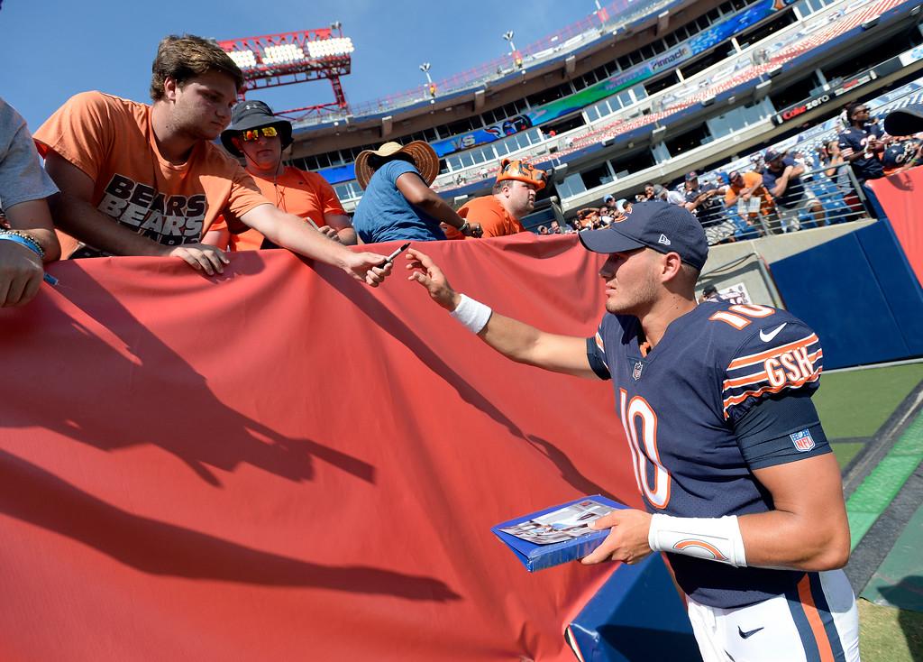 . Chicago Bears quarterback Mitchell Trubisky signs autographs after an NFL football preseason game Sunday, Aug. 27, 2017, in Nashville, Tenn. The Bears won 19-7. (AP Photo/Mark Zaleski)