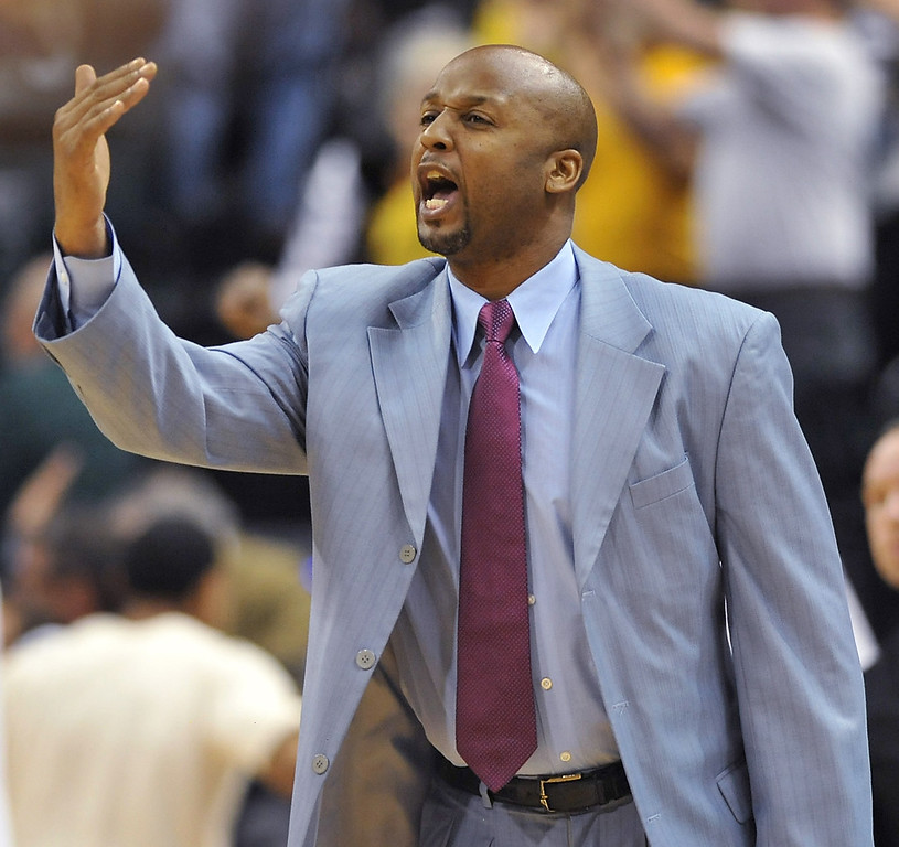 . Indiana Pacers assistant coach Brian Shaw calls in instructions to players on the floor  after head coach Frank Vogel was ejected from the game against the Cleveland Cavaliers on April 9, 2013. Shaw was named head coach of the Denver Nuggets on Monday, June 24, 2013. (Joe Vitti / The Indianapolis Star)