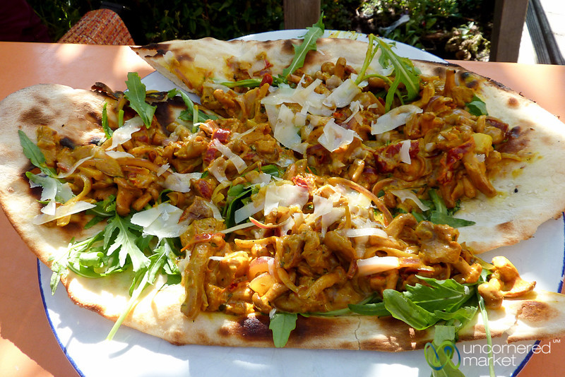 Naan Pizza Covered in Chanterelle Sauce - Berlin, Germany