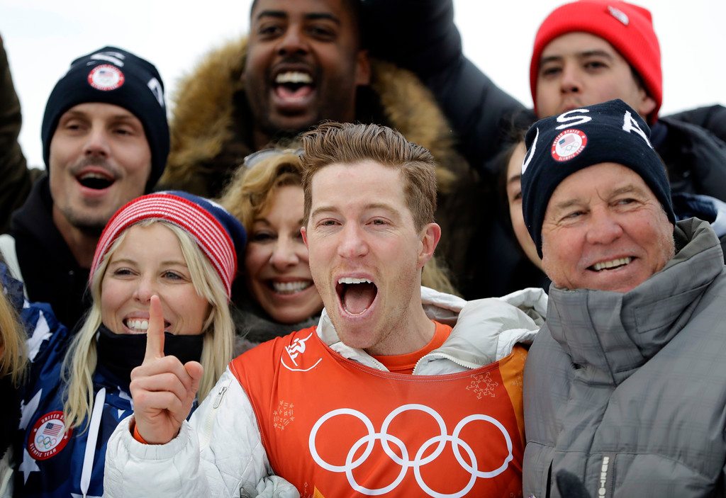 . Shaun White, of the United States, celebrates winning gold after the men\'s halfpipe finals at Phoenix Snow Park at the 2018 Winter Olympics in Pyeongchang, South Korea, Wednesday, Feb. 14, 2018. (AP Photo/Lee Jin-man)