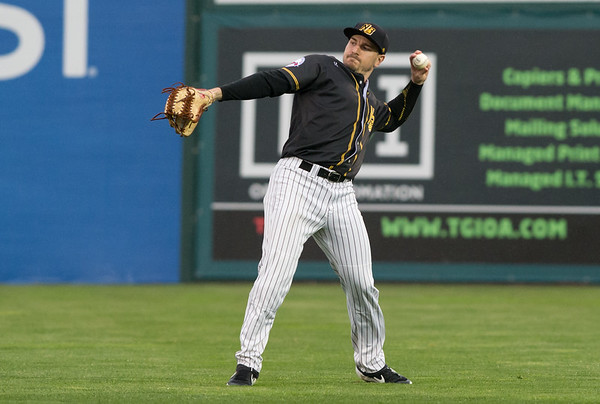 The New Britain Bees home opener vs the Somerset Patriots on Friday night at New Britain Stadium. Right fielder Bijan Rademacher (28). | Wesley Bunnell | Staff